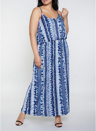 Plus Size Tie Dye Cami Maxi Dress,NAVY,large