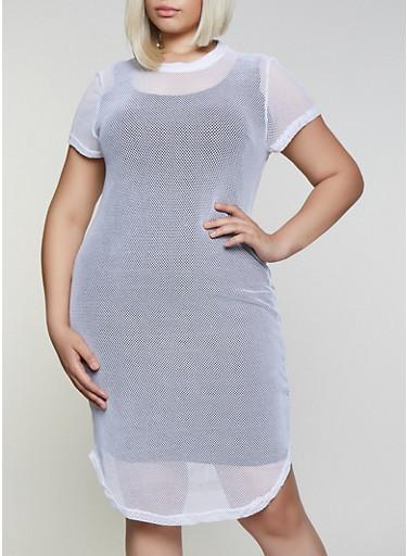 Plus Size Fishnet T Shirt Dress,WHITE,large
