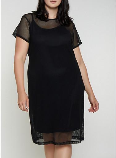 Plus Size Fishnet Midi T Shirt Dress,BLACK,large