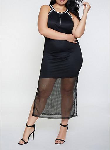 Plus Size Fishnet Maxi Dress