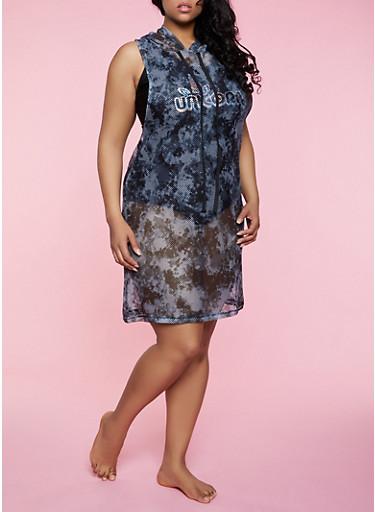 Plus Size Tie Dye Fishnet Hooded Tank Dress,BLACK,large