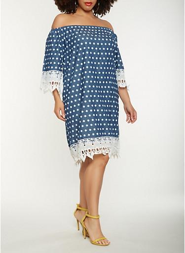 Plus Size Off the Shoulder Polka Dot Denim Dress,MEDIUM WASH,large