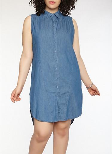 Plus Size Denim Button Front Dress,MEDIUM WASH,large