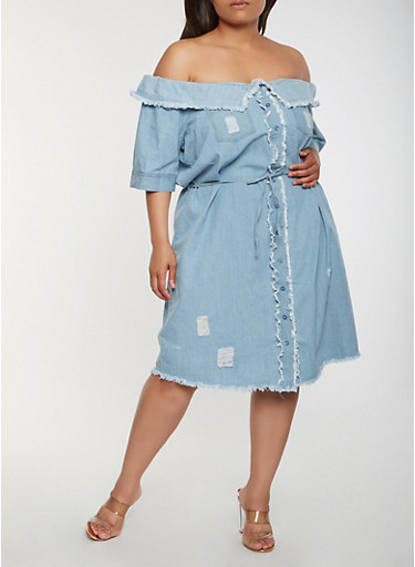 Plus Size Off The Shoulder Denim Dress Rainbow