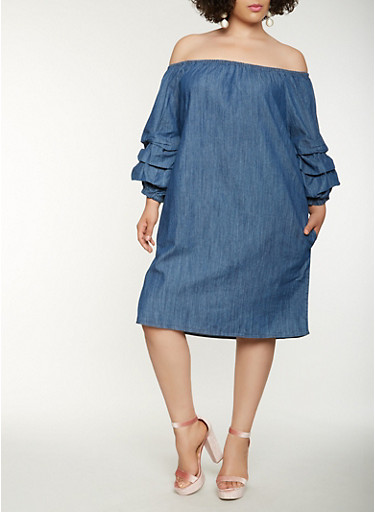 Plus Size Off the Shoulder Midi Denim Dress,MEDIUM WASH,large