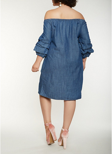 Plus Size Off The Shoulder Midi Denim Dress Rainbow