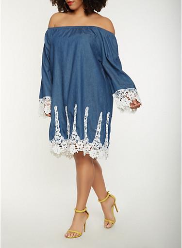 Plus Size Chambray Off the Shoulder Dress,MEDIUM WASH,large