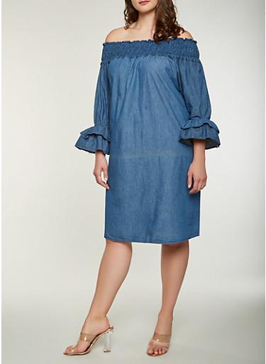 Plus Size Denim Off the Shoulder Dress,MEDIUM WASH,large