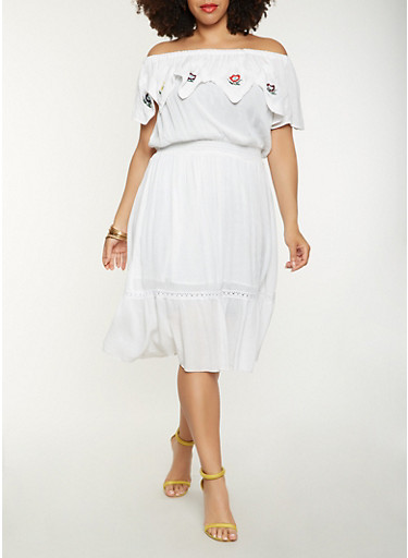 Plus Size Embroidered Off the Shoulder Midi Dress,WHITE,large