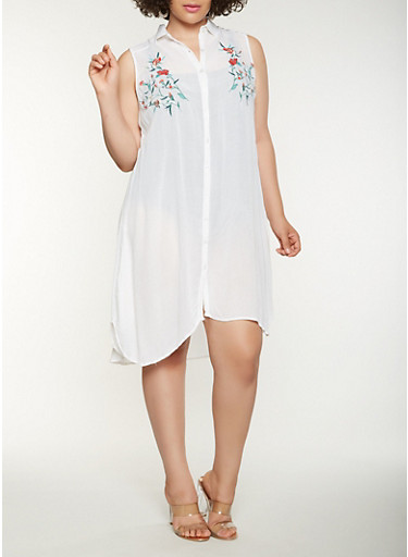 Plus Size Embroidered Midi Shirt Dress,WHITE,large
