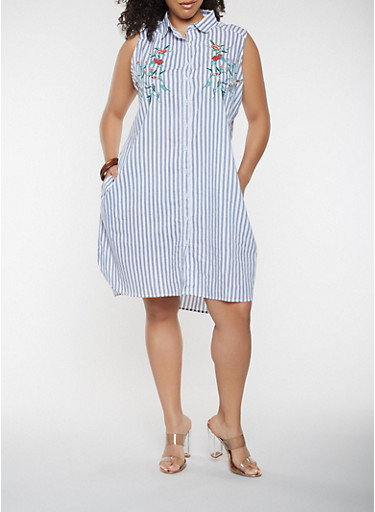 Plus Size Embroidered Striped Shirt Dress,WHITE/BLUE,large