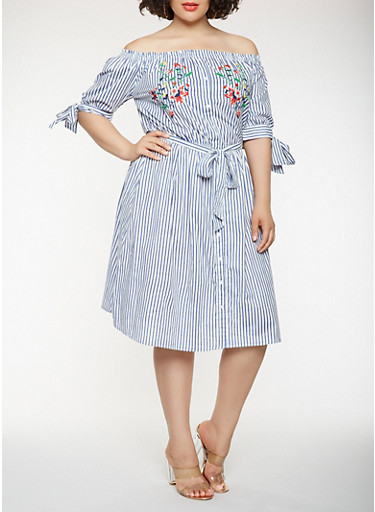 Plus Size Off the Shoulder Striped Dress,WHITE/BLUE,large