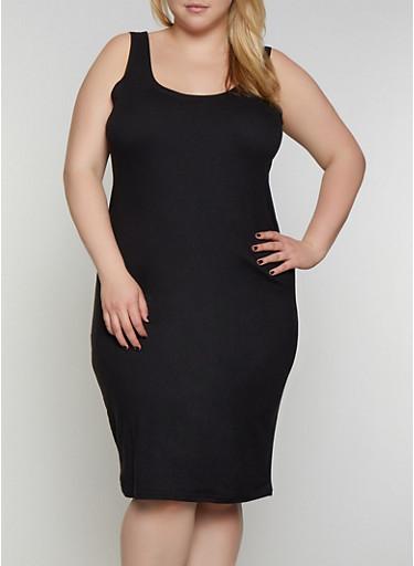 Plus Size Tank Midi Dress,BLACK,large