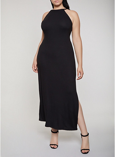 Plus Size Solid Maxi Tank Dress