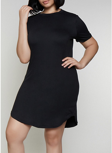 Plus Size Soft Knit T Shirt Dress | 0390038349815,BLACK,large