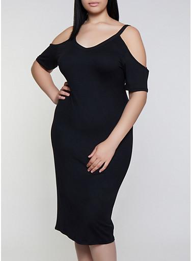 Plus Size V Neck Cold Shoulder Dress,BLACK,large