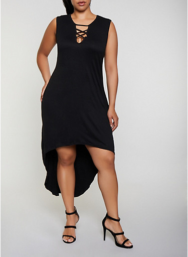Plus Size Lace Up High Low Dress,BLACK,large