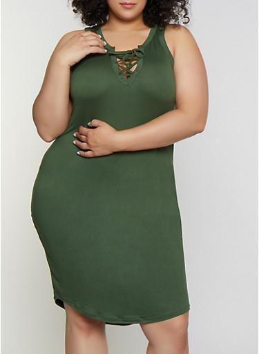 Plus Size Lace Up Tank Dress,OLIVE,large