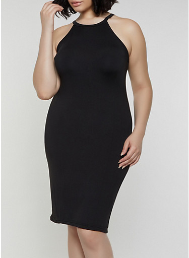 Plus Size Laser Cut Back Bodycon Tank Dress,BLACK,large