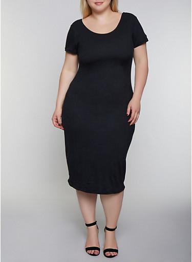 Plus Size Scoop Back Bodycon Dress,BLACK,large