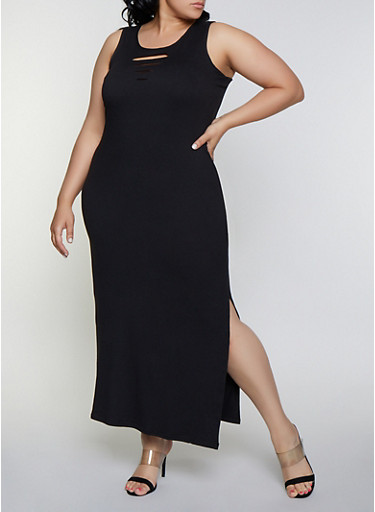 Plus Size Laser Cut Detail Tank Maxi Dress,BLACK,large