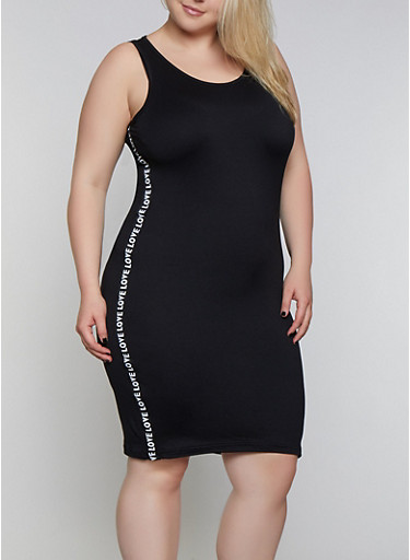 Plus Size Love Tape Bodycon Tank Dress,BLACK,large