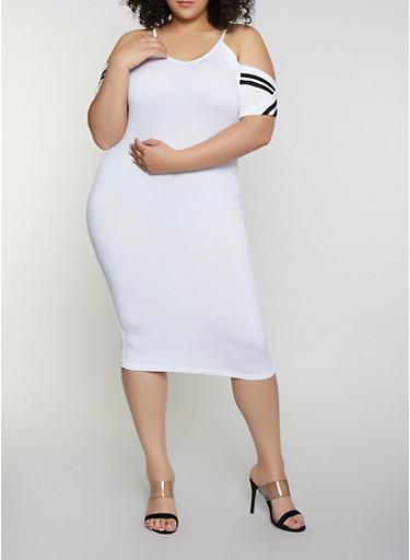 Plus Size Varsity Stripe Cold Shoulder Dress,WHITE,large