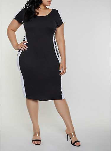 Plus Size Flawless Color Block Bodycon Dress,BLACK/WHITE,large