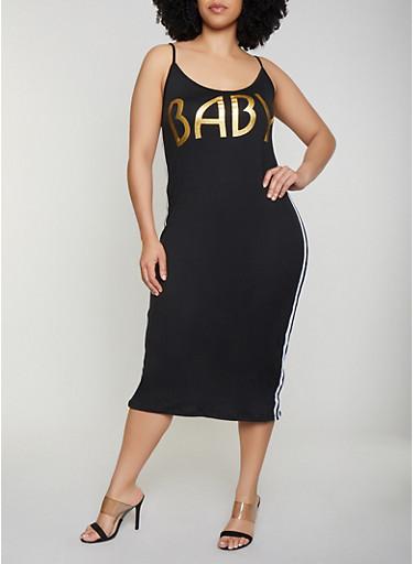 Plus Size Baby Graphic Cami Dress,BLACK,large