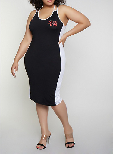 Plus Size 45 Contrast Trim Tank Dress,BLACK/WHITE,large