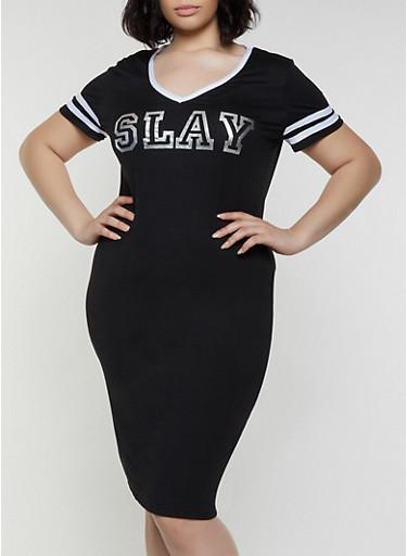 Plus Size Slay Foil Graphic T Shirt Dress,BLACK/WHITE,large
