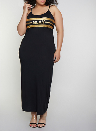 Plus Size Slay Foil Graphic Cami Maxi Dress,BLACK,large