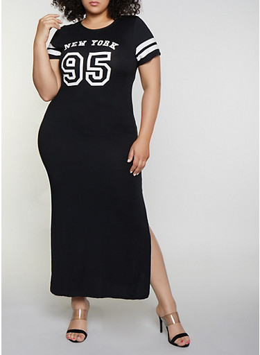 Plus Size New York 95 Graphic T Shirt Dress
