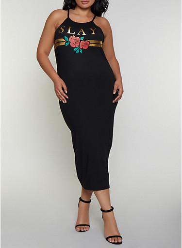 Plus Size Slay Rose Maxi Dress,BLACK,large