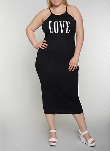 Plus Size Love Graphic Tank Midi Dress,BLACK,large