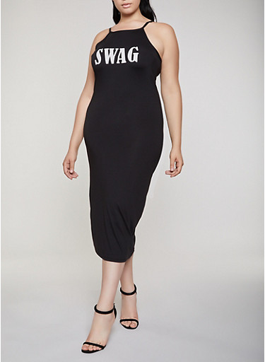 Plus Size Swag Graphic Cami Dress,BLACK,large