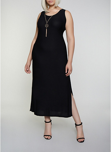 Plus Size Caged Back Maxi Dress with Necklace,BLACK,large