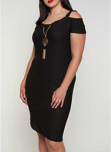 Plus Size Cold Shoulder Dress with Necklace | 0390038349874,BLACK,large