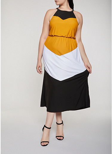 Plus Size Color Block Sleeveless Maxi Dress,MUSTARD,large