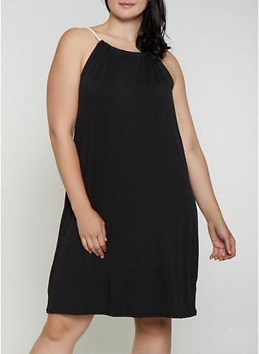 Plus Size Rope Strap Midi Dress,BLACK,large