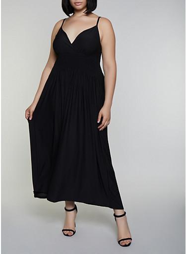 Plus Size Smocked Empire Waist Dress,BLACK,large