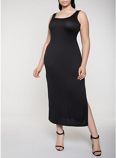 Plus Size Side Slit Tank Maxi Dress | 0390038349881,BLACK,large