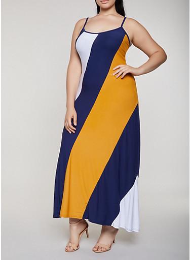 Plus Size Color Block Maxi Cami Dress,NAVY,large