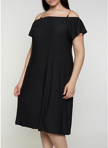 Plus Size Chain Strap Cold Shoulder Shift Dress,BLACK,large