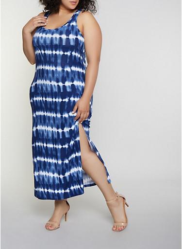 Plus Size Tie Dye Striped Racerback Tank Maxi Dress,NAVY,large