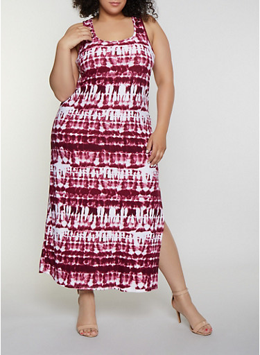 Plus Size Tie Dye Racerback Tank Maxi Dress,WINE,large