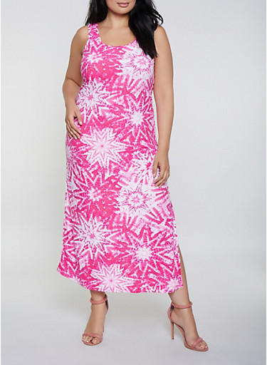 Plus Size Tie Dye Star Print Tank Maxi Dress | 0390038349904,FUCHSIA,large