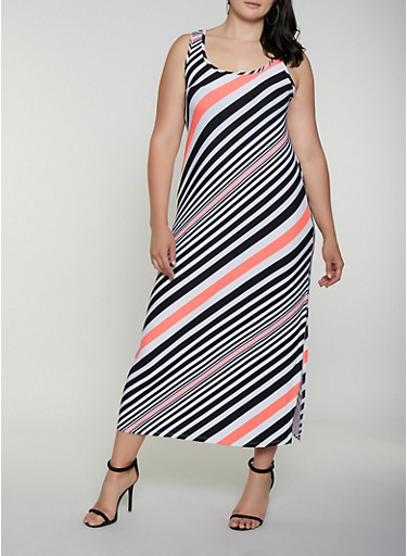 Plus Size Diagonal Stripe Maxi Tank Dress,BLACK,large