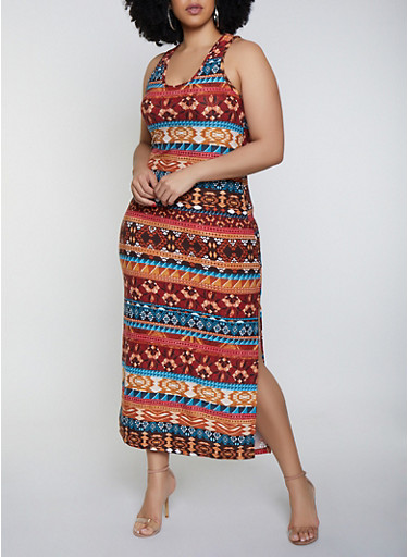 Plus Size Printed Side Slit Tank Maxi Dress,MULTI COLOR,large
