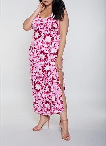 Plus Size Tie Dye Star Print Tank Maxi Dress,RED,large